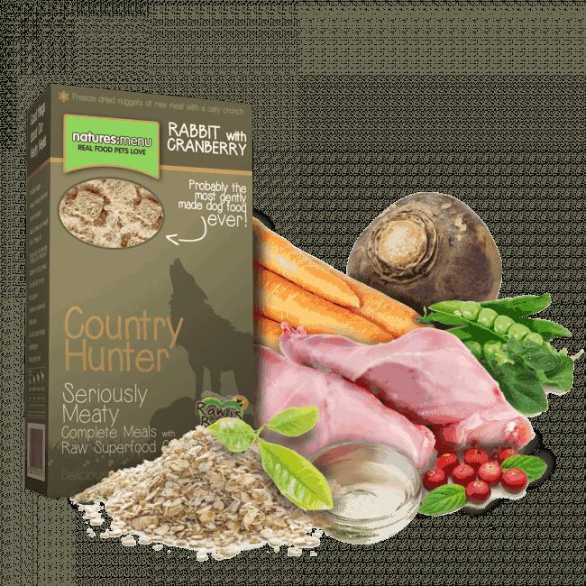 Nyúlhúsos-Vörösáfonyás fagyasztva szárított száraztáp, Country Hunter