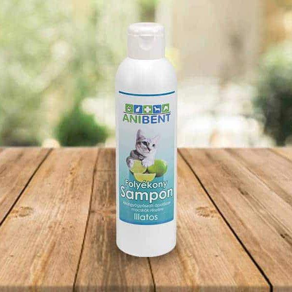 Zöldcitrom illatú sampon macskáknak, Anibent