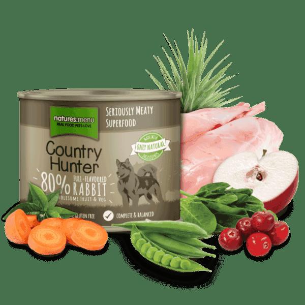 Nyúlhúsos-Vörösáfonyás Párolt Konzerv Eledel Kutyáknak, Country Hunter