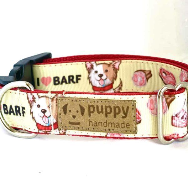 BARF Mintás Nyakörv Kutyáknak (2,5cm széles, Sárga), Puppy Handmade