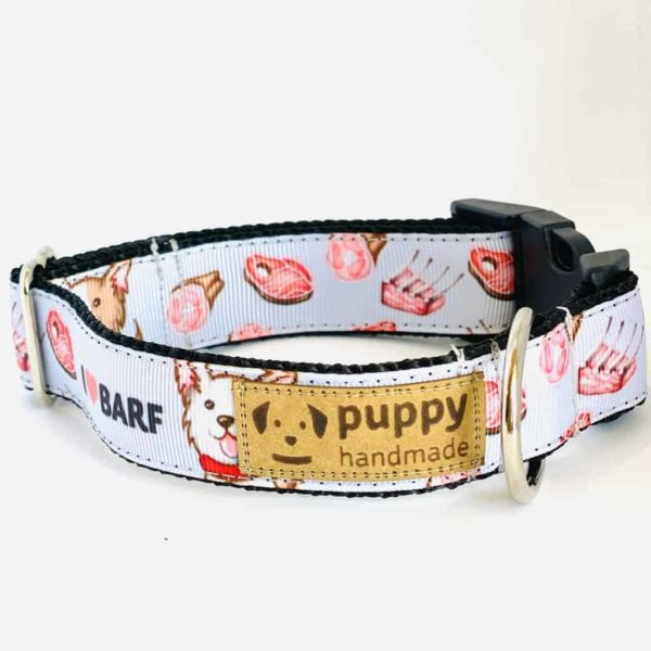 BARF Mintás Nyakörv Kutyáknak (2,5cm széles, Lila), Puppy Handmade