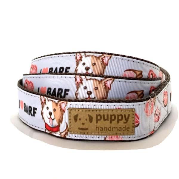 BARF Mintás Póráz Kutyáknak, (Lila, 2,5cm széles), Puppy Handmade