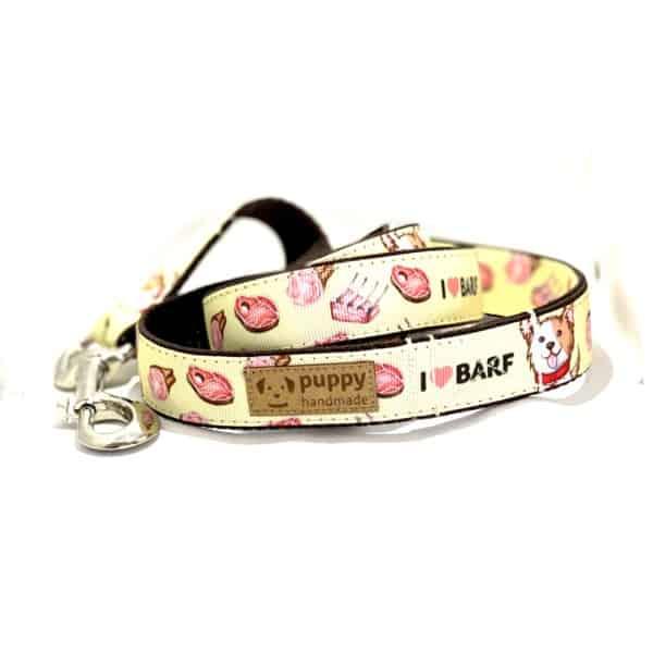 BARF Mintás Póráz Kutyáknak, (Sárga, 2,5cm széles), Puppy Handmade