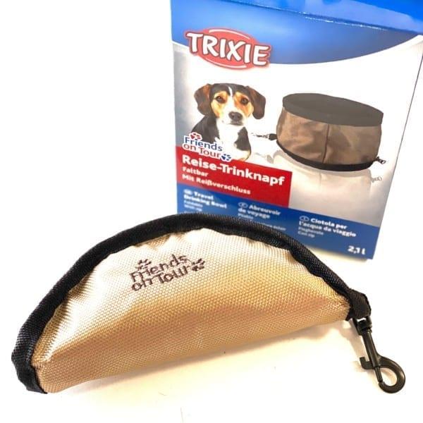 Összehajtható Etető-Itatótál (2,1l) Textilből Utazáshoz, Trixie